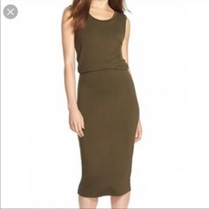 Leith Army Green Dress